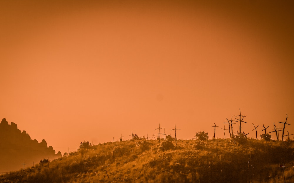 A row of crosses made of sticks carpets a grassy hill against an orange sky
